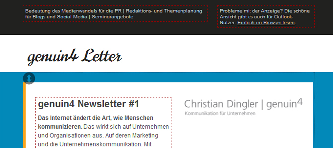 Screenshot des Newsletters