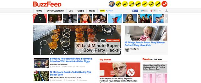 Die Startseite von BuzzFeed